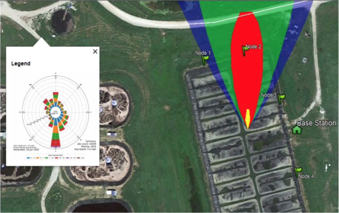 A visualization of methane leak detection technology utilizing weather data