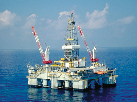 Photo of an offshore deepwater drilling rig.