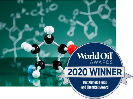 Photo of molecular structure with 2020 World Oil Award logo.