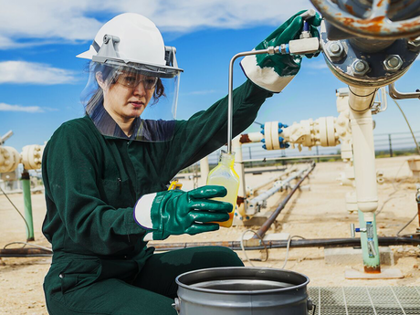 Photo of a chemical engineer in the field.