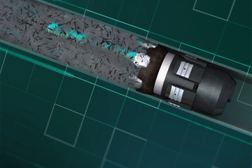 Animation still of an extended-lateral milling tool, Versa-drive.