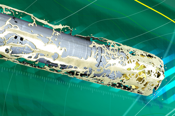 Animation still of the DELTA-DRILL low-pressure-impact drilling fluid tool in action.