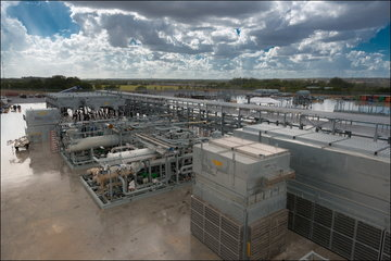 LNG plant with clouded skies