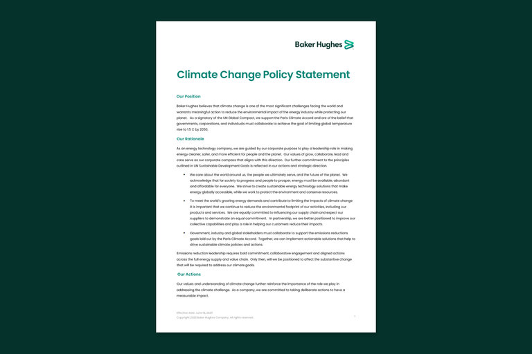 Screenshot of Baker Hughes' climate change policy statement